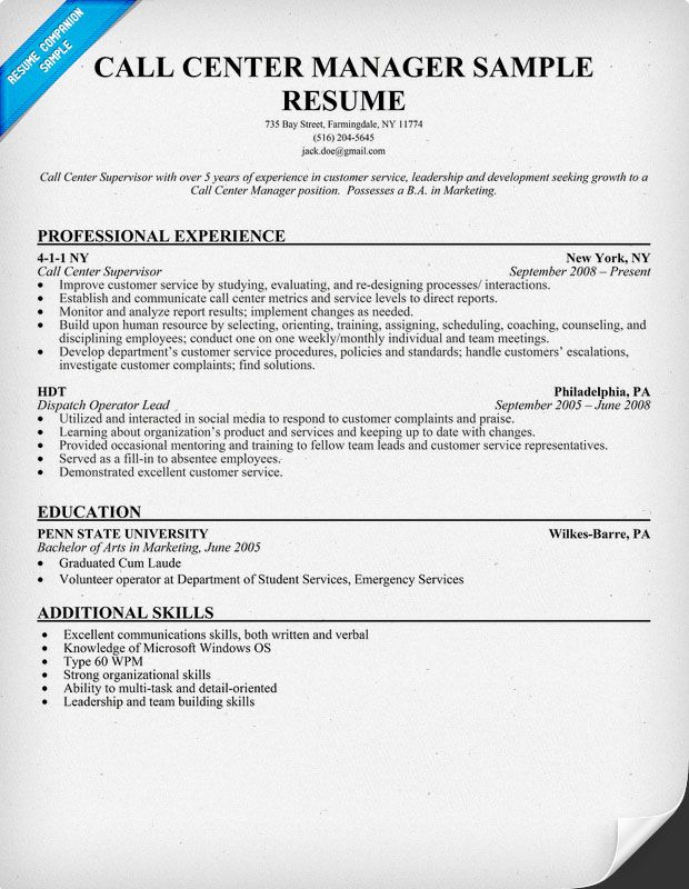 Call Center #Manager Resume Sample Resumecompanion Com Resume