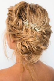 beautiful braided with messy updo
