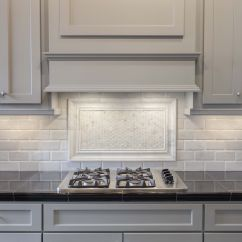 White Kitchen Cabinets And Backsplash Fans Grey Painted With Marble Pillowed Subway