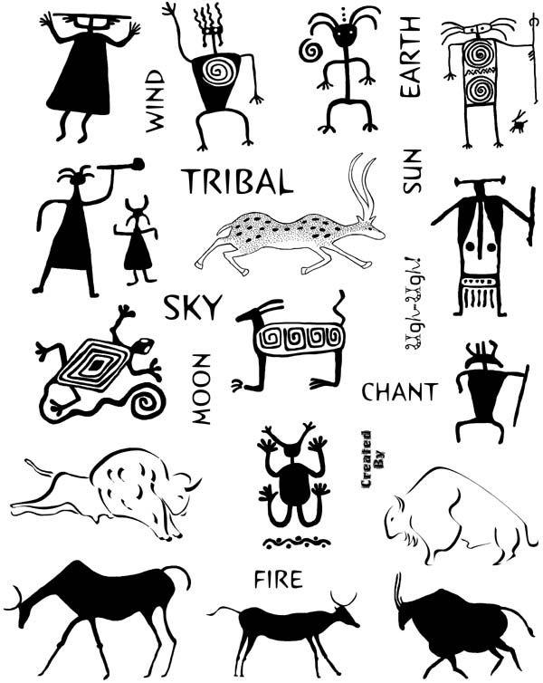 Rock Art and Petroglyphs Unmounted Rubber Stamp Sheet