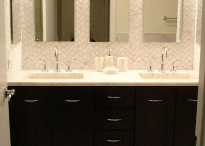 Chic black double bathroom vanity also white picket fence pinterest
