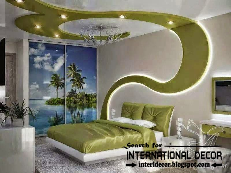Modern bedroom ceiling ideas and drywall with LED lights