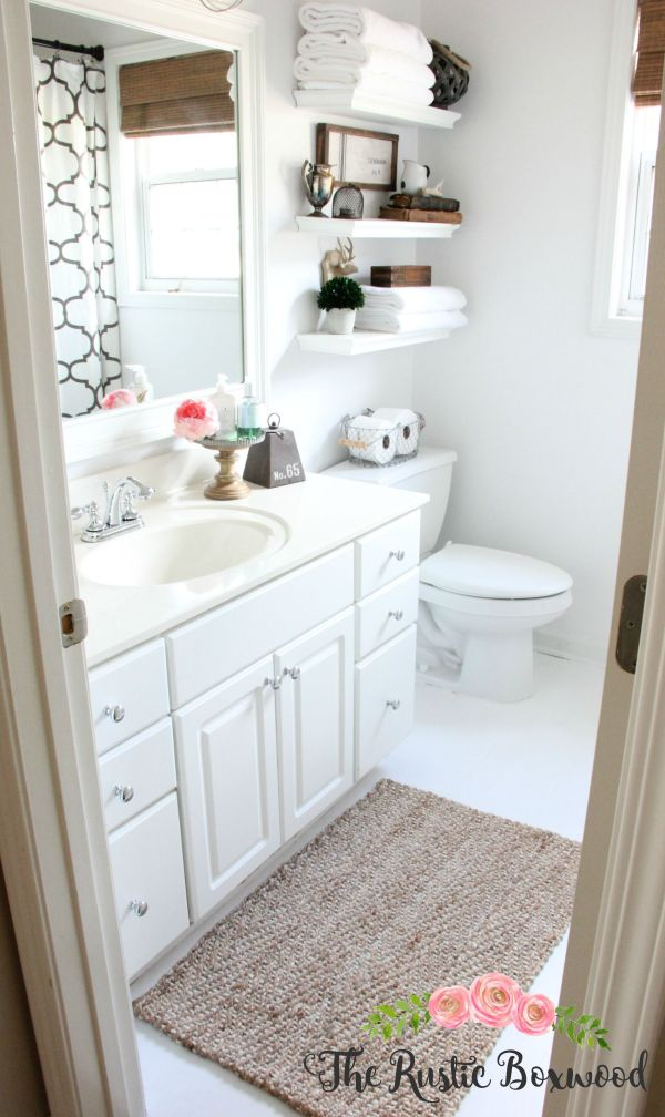 Guest Bathroom Makeover Reveal Rustic Boxwood And White Fresh Start
