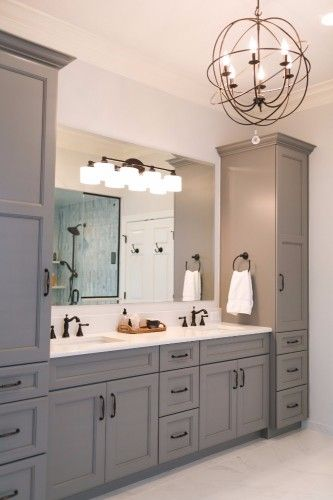 Grey master vanity with two towers undermount sinks antique bronze faucets and hardware and