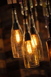 Recycled Wine Bottle Hanging Lamp with Edison Lightbulb ...