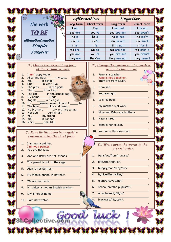Verb To Be Ffirm Tive Neg Tive Simple Present Present