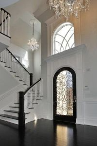 Traditional Entryway with Crown molding, High ceiling ...