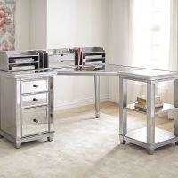 Hayworth Mirrored Corner Desk With Open Shelf & Hutch ...