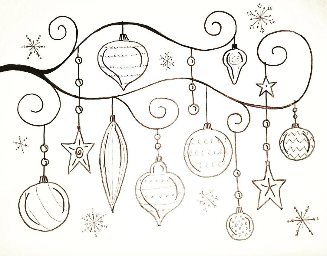 Free Printable Coloring Sheet Whimsical Christmas Ornaments Traceable Angelafineart