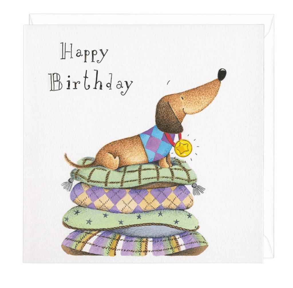 Dachshund Happy Birthday Medal Greeting Card Dachshund
