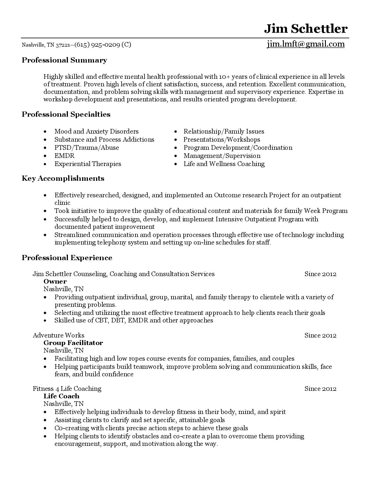 Behavioral Health Counselor Resume Sample