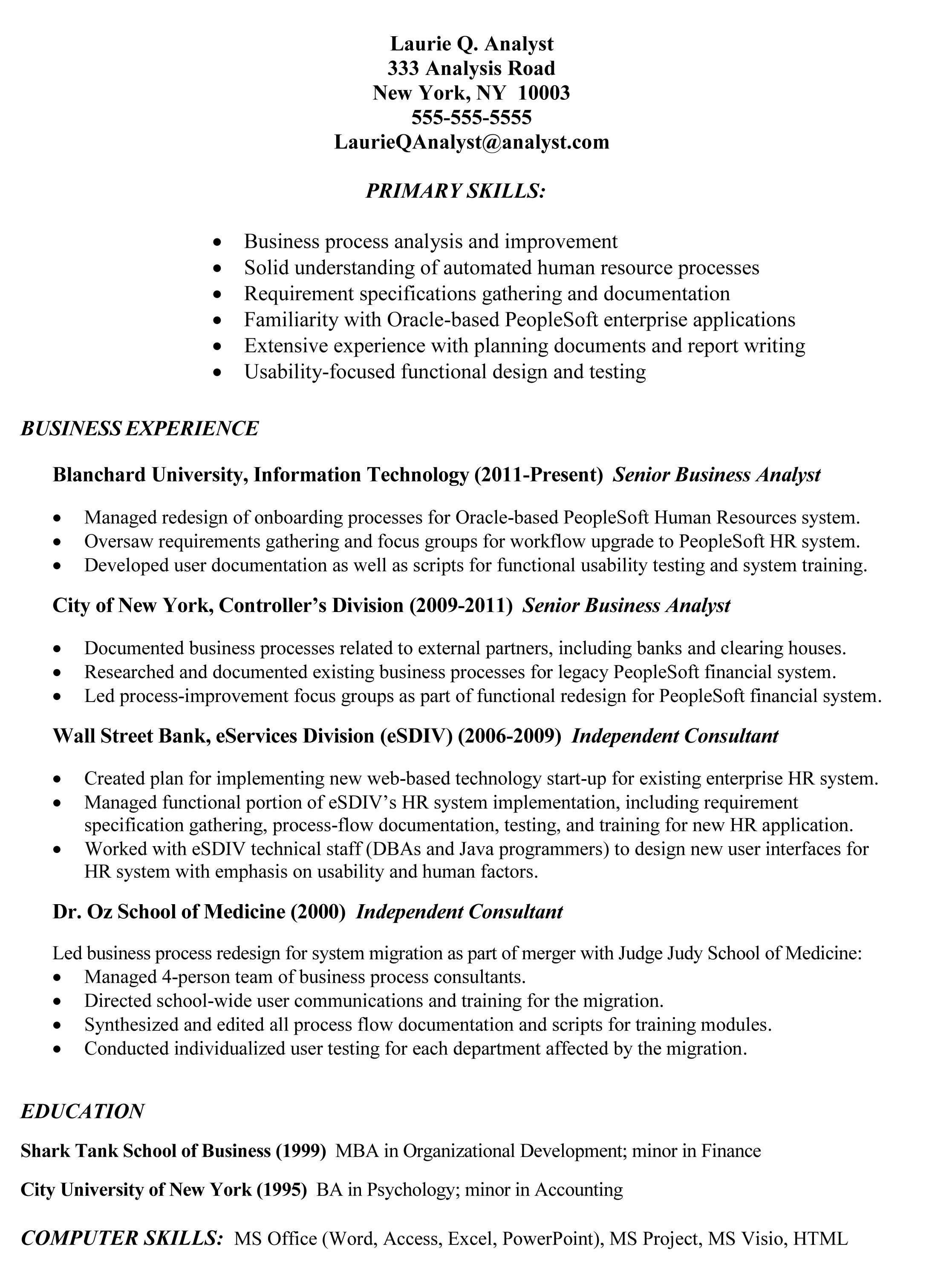 Example Of Business Analyst Resumes Topresume Info 2014