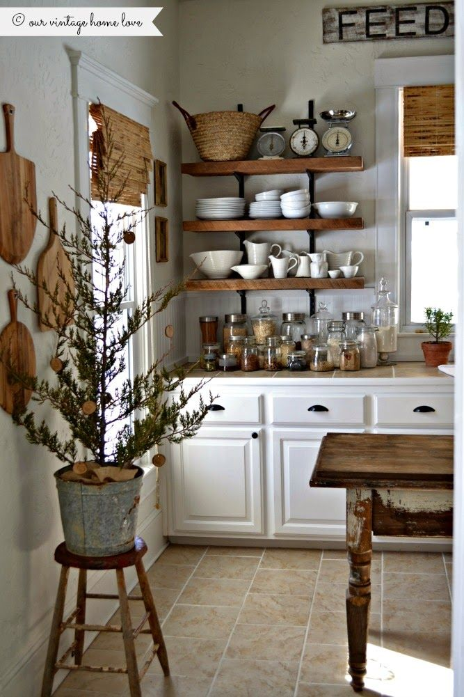 Always  winner in kitchen love the open shelves breadboards and that christmas tree decorated with cookies also live montreal  ooking for vintage rentals handmade items rh pinterest
