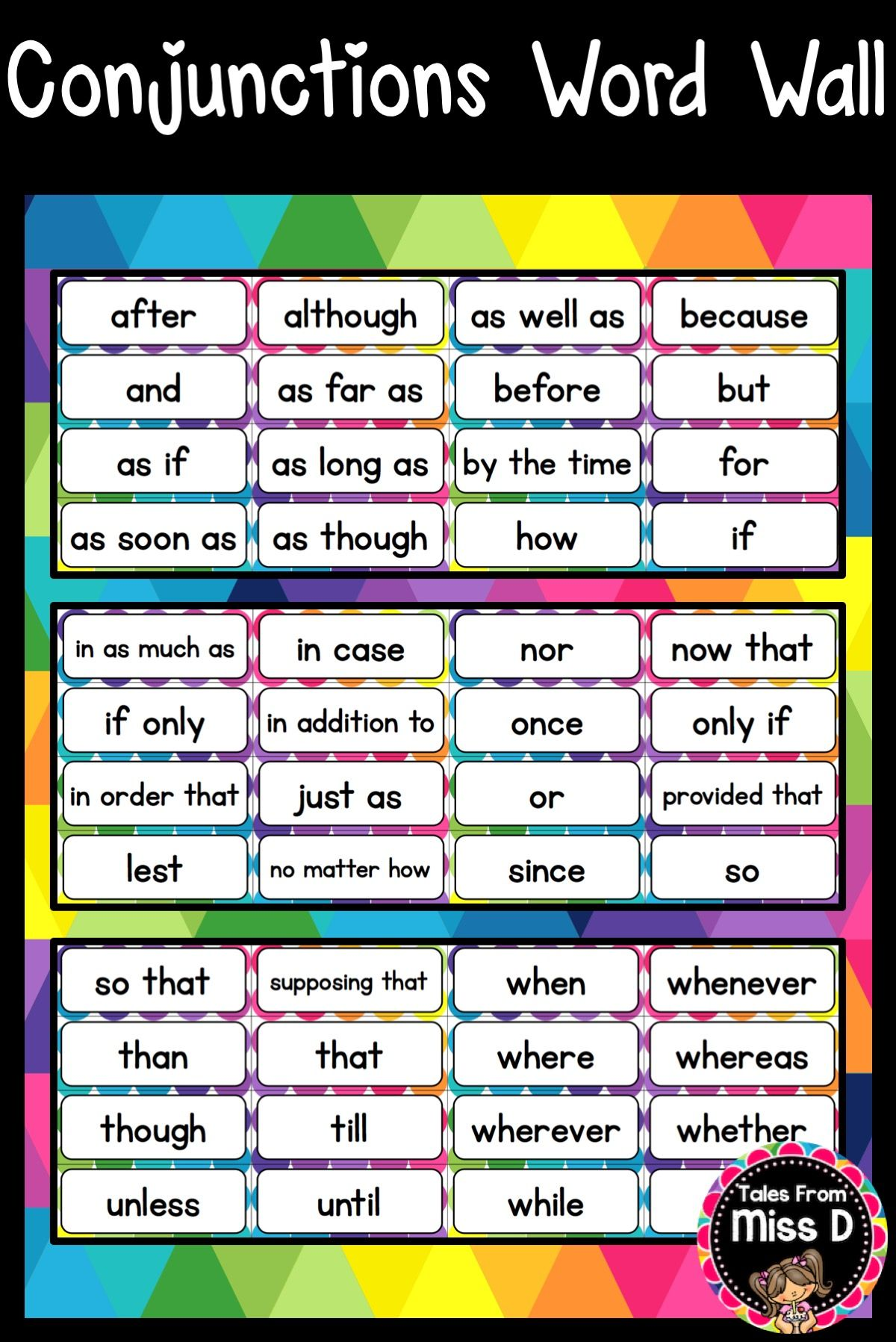 Conjunctions Word Wall