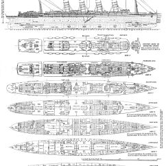 Titanic Boat Diagram 1996 Ford Explorer Stereo Wiring Rms Lusitania Deck Plans Ship Schematics Cutaways
