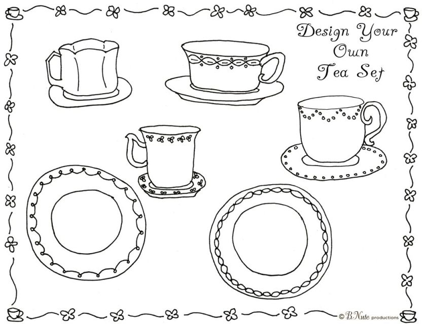 victorian tea set colouring page  google search