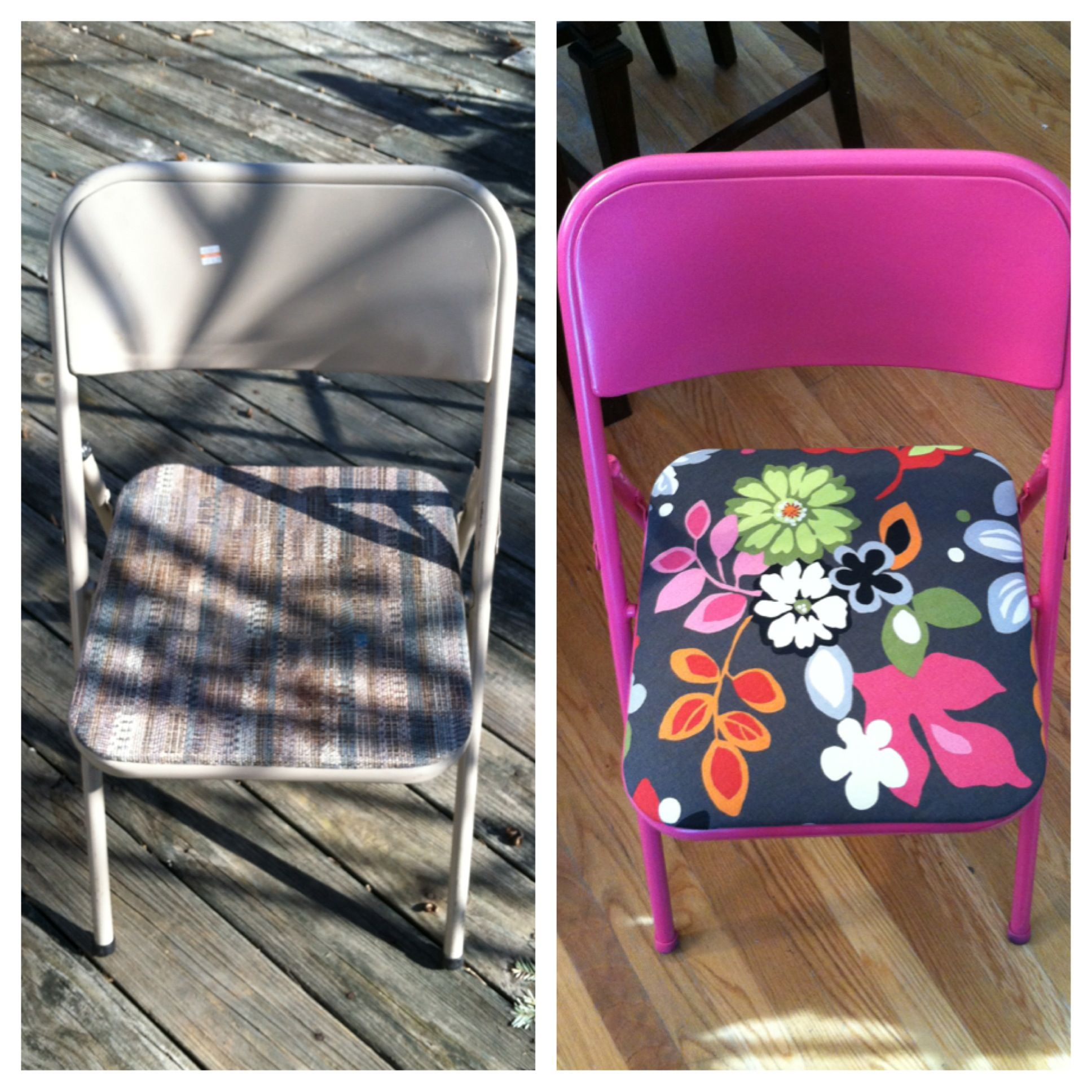 folding chair upcycle swivel disassembly quotupcycled quot w spray paint and reupholstered