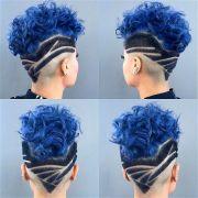 curly royal blue dyed hair