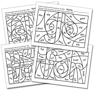 Hidden Sight Word Worksheets to support Sing & Spell Vol