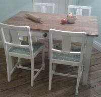 Pine Table & Drawer with Polka Dot Chairs, Painted in ...