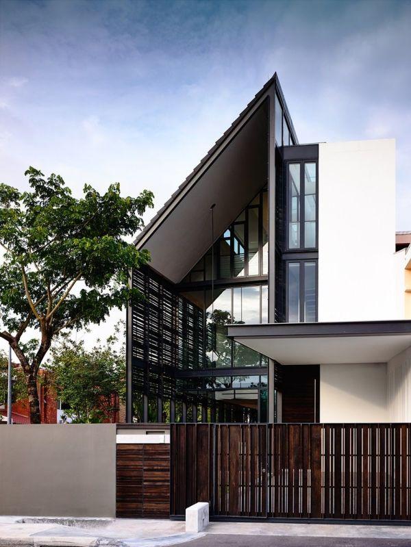 Unique Corner Terrace House Design. Exterior