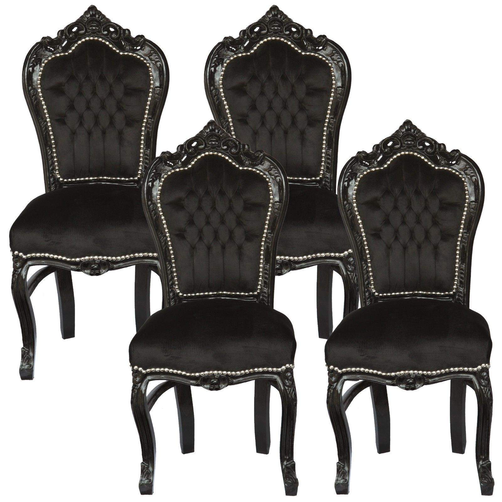 Black Velvet Chair Amazing Set Of 4 Dining Room Chairs Baroque Gothic Black
