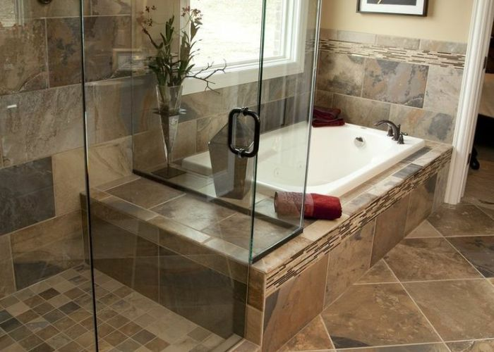 Like this combo mirror image with  different floor   the long bathroom tilingbath also