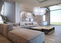 contemporary living room with soft neutral palette, large ...
