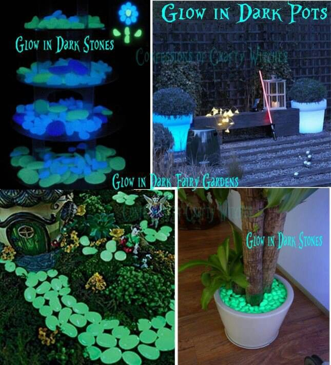 Glow In The Dark Gardens Using Recycled Pots Rocks & Paint With