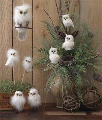 """owl+christmas+decor   RAZ 6"""" White Fuzzy Owl on a Perch ..."""