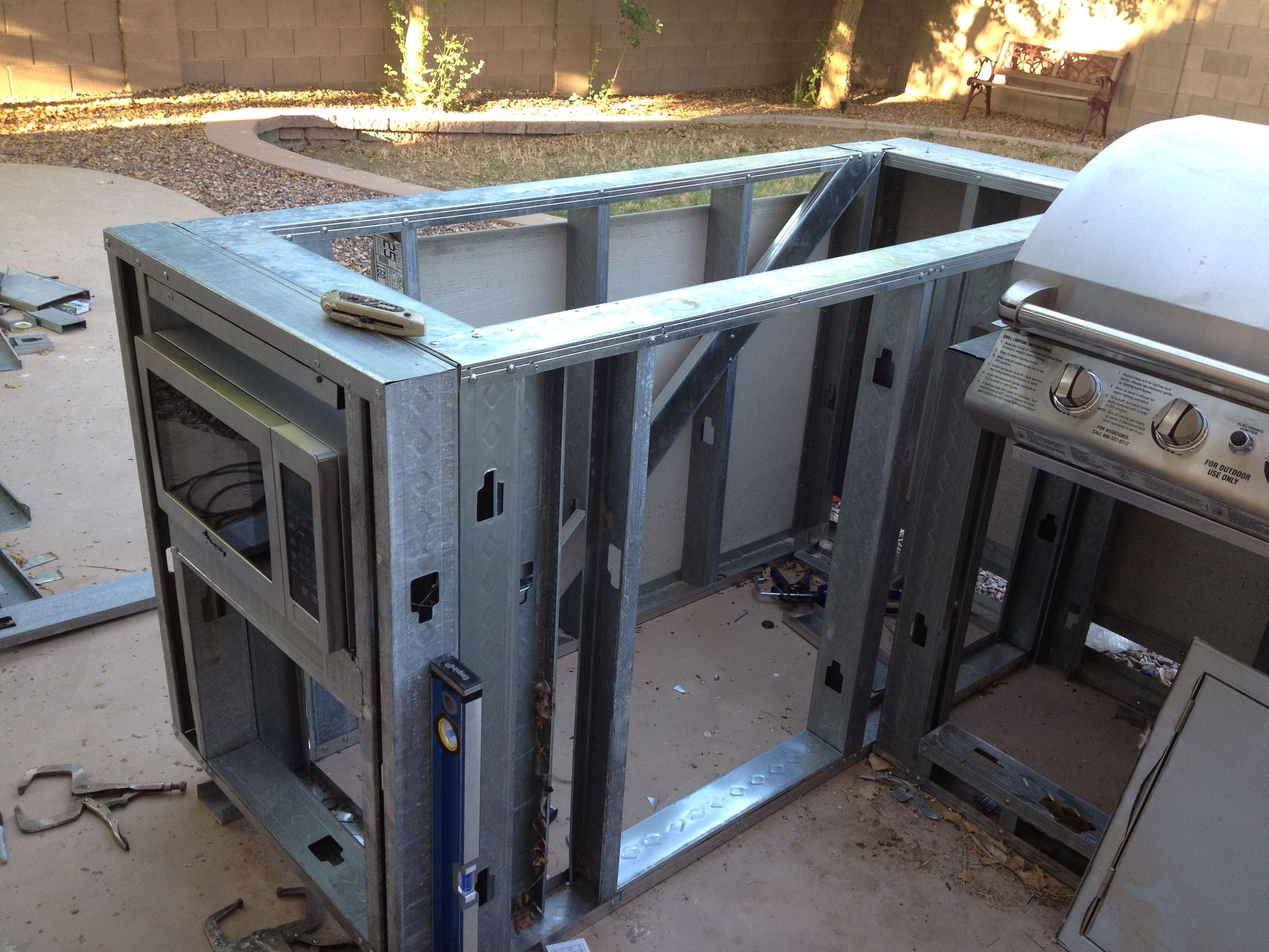 metal frame outdoor kitchen breakfast nook ideas for small steele studs diy pinterest kitchens