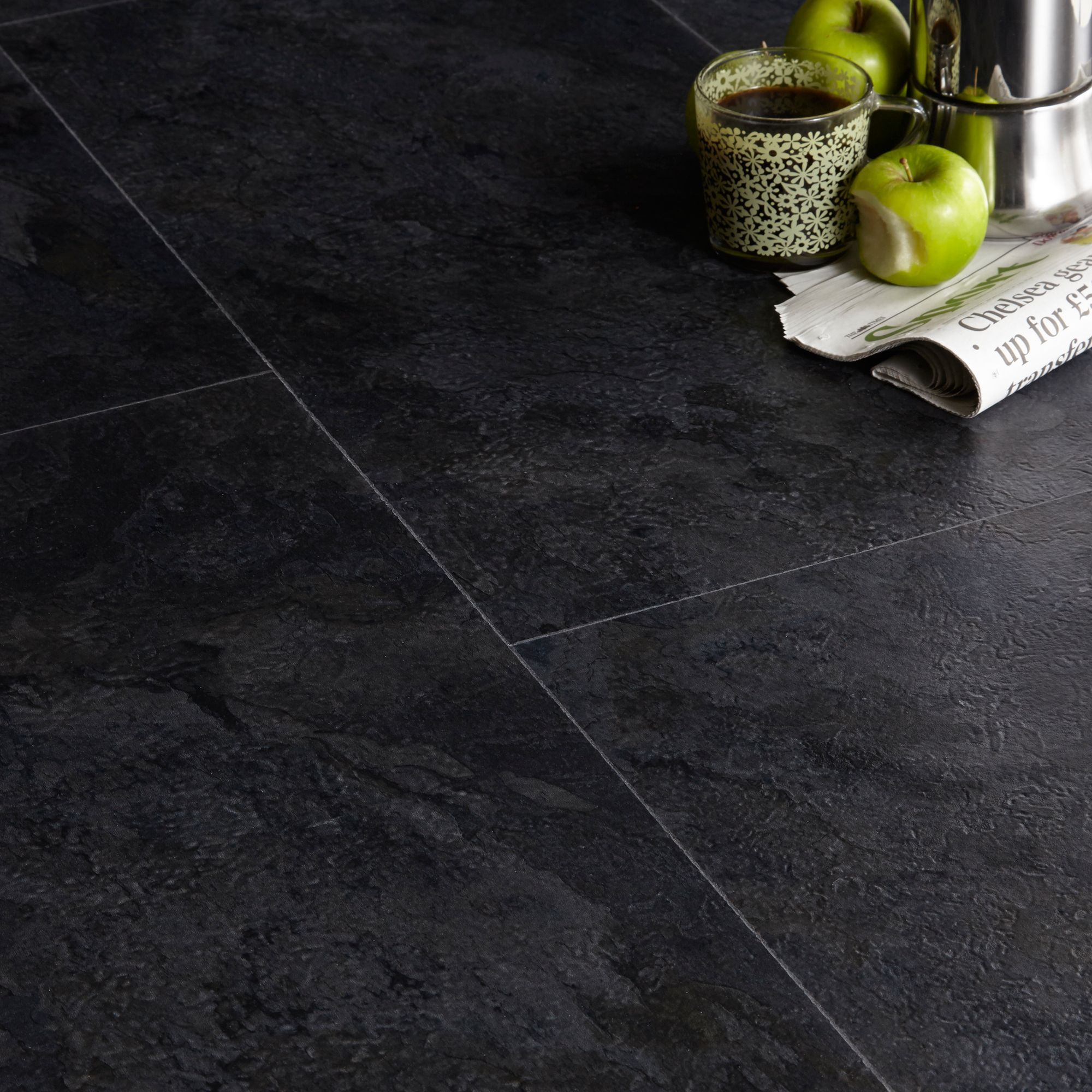 Colours Black Slate Effect Luxury Vinyl Click Flooring 1