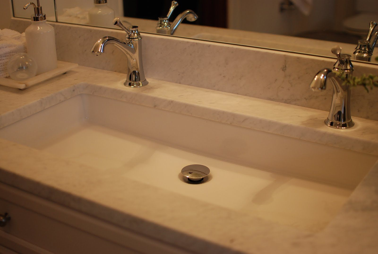 Shannon Schnell Large trough sink with two faucets  Bathroom Ideas  Pinterest  Trough sink