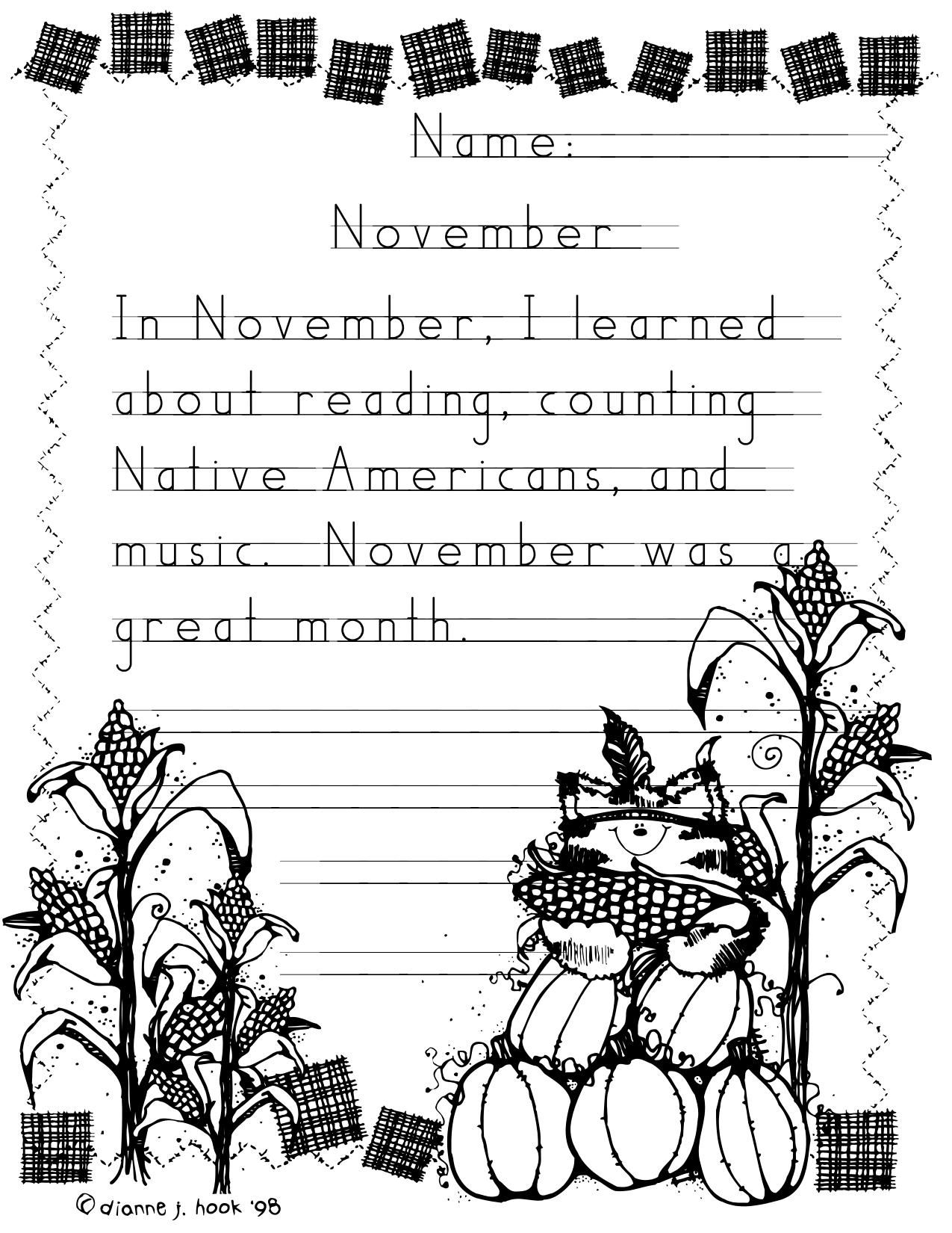 Adorable Thanksgiving Writing Paper For Kinder Or First Graders Love The Handwriting Without