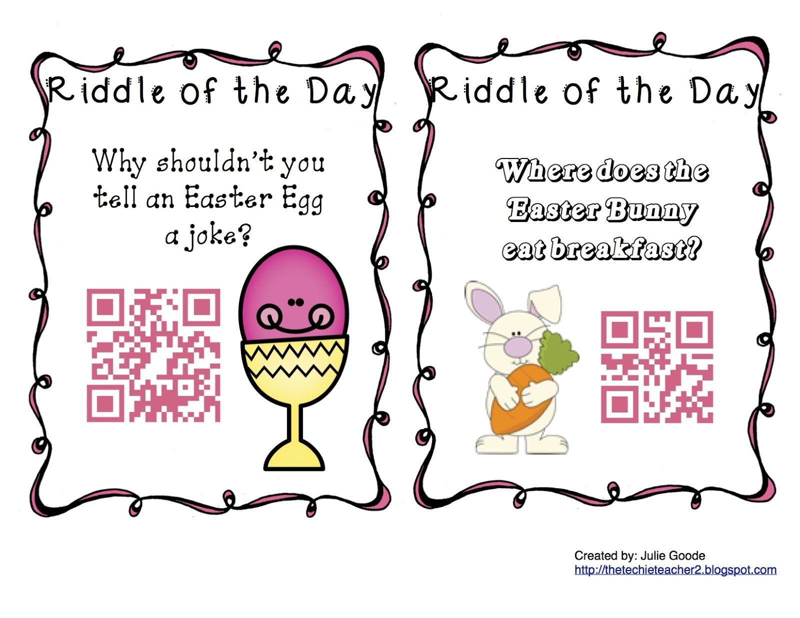The Techie Teacher Qr Code Spring Riddles Of The Day