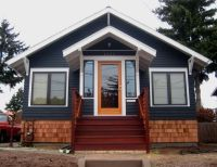 dark gray house with natural wood trim outdoor - Google ...