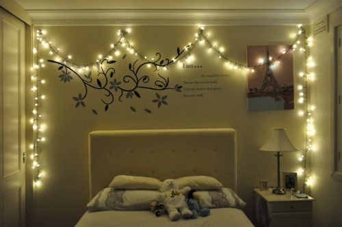white christmas lights hanging around your room, a definite yes
