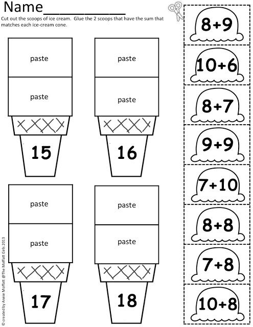 Ice Cream Math Scoops! Addition and subtraction up to 20