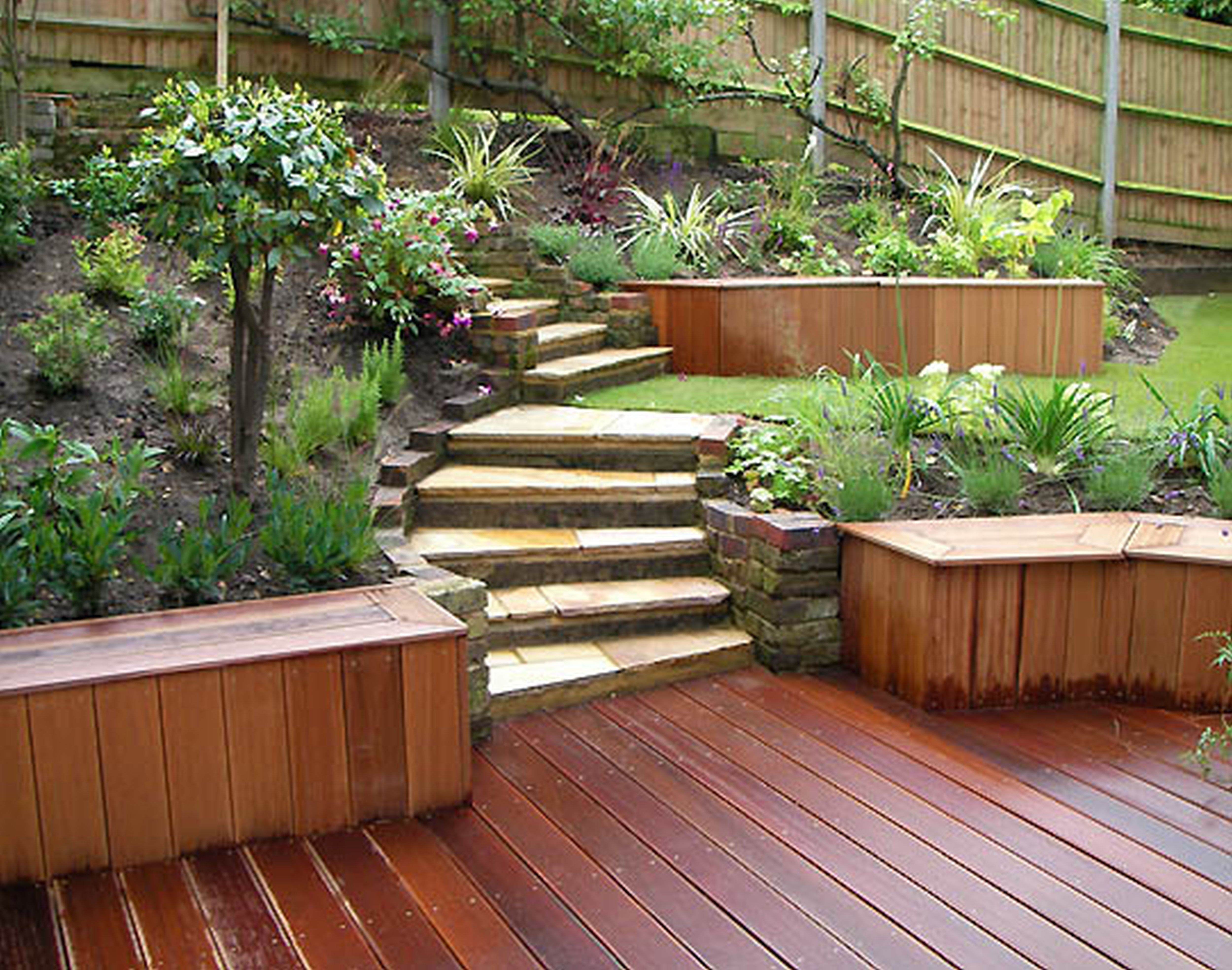 Cool Garden Decorations With Stone Stairs And Wooden Deck And