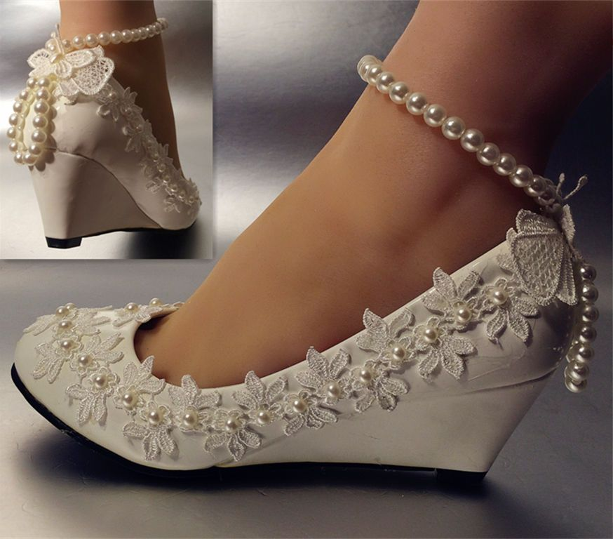 Lace white ivory crystal Wedding shoes Bride flats low