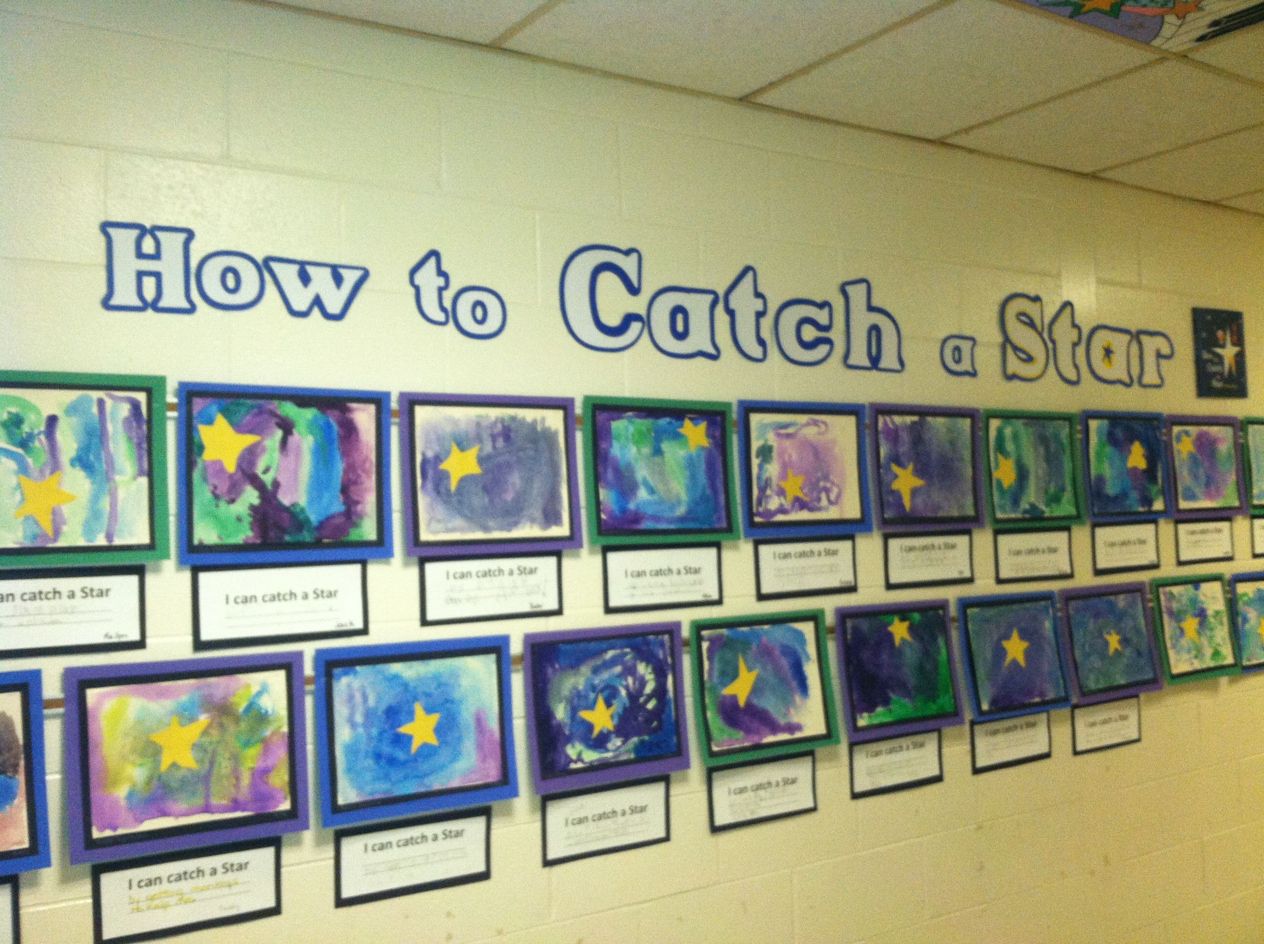 Kindergarten To Catch A Star Watercolor Salt Cut Paper Project Udents Wrote I Can
