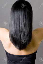 long straight black hair view