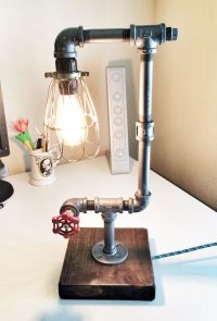 Custom pipe lamp where I turned the faucet into a switch