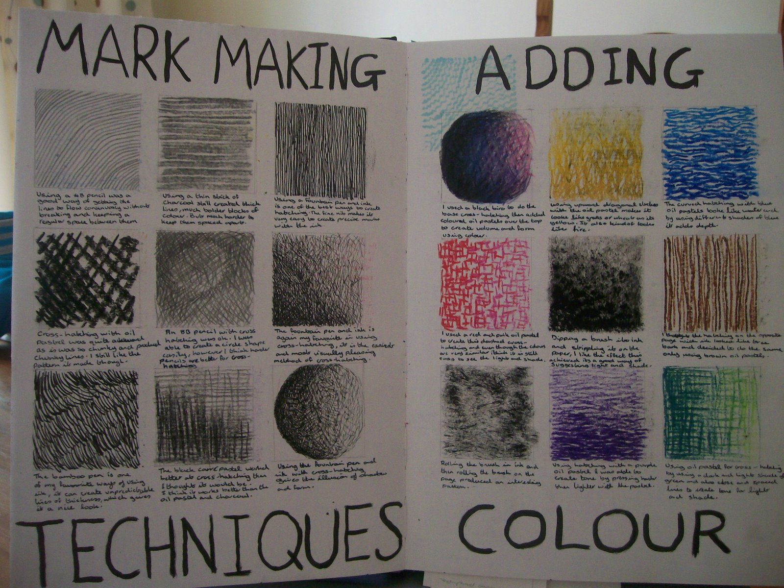 Mark Making Colour And Black And White Year 7