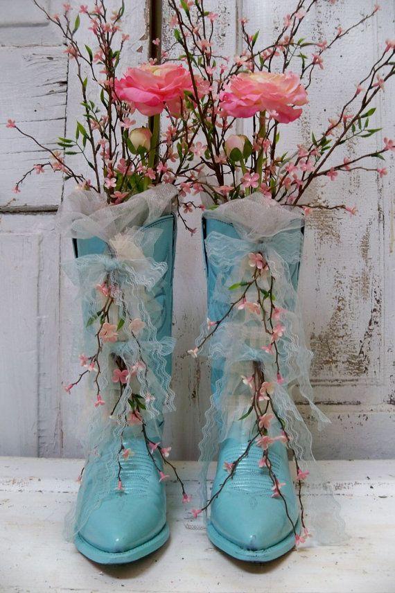 Decorative Floral Arrangement Cowboy Boots Aqua Blue Pink Floral
