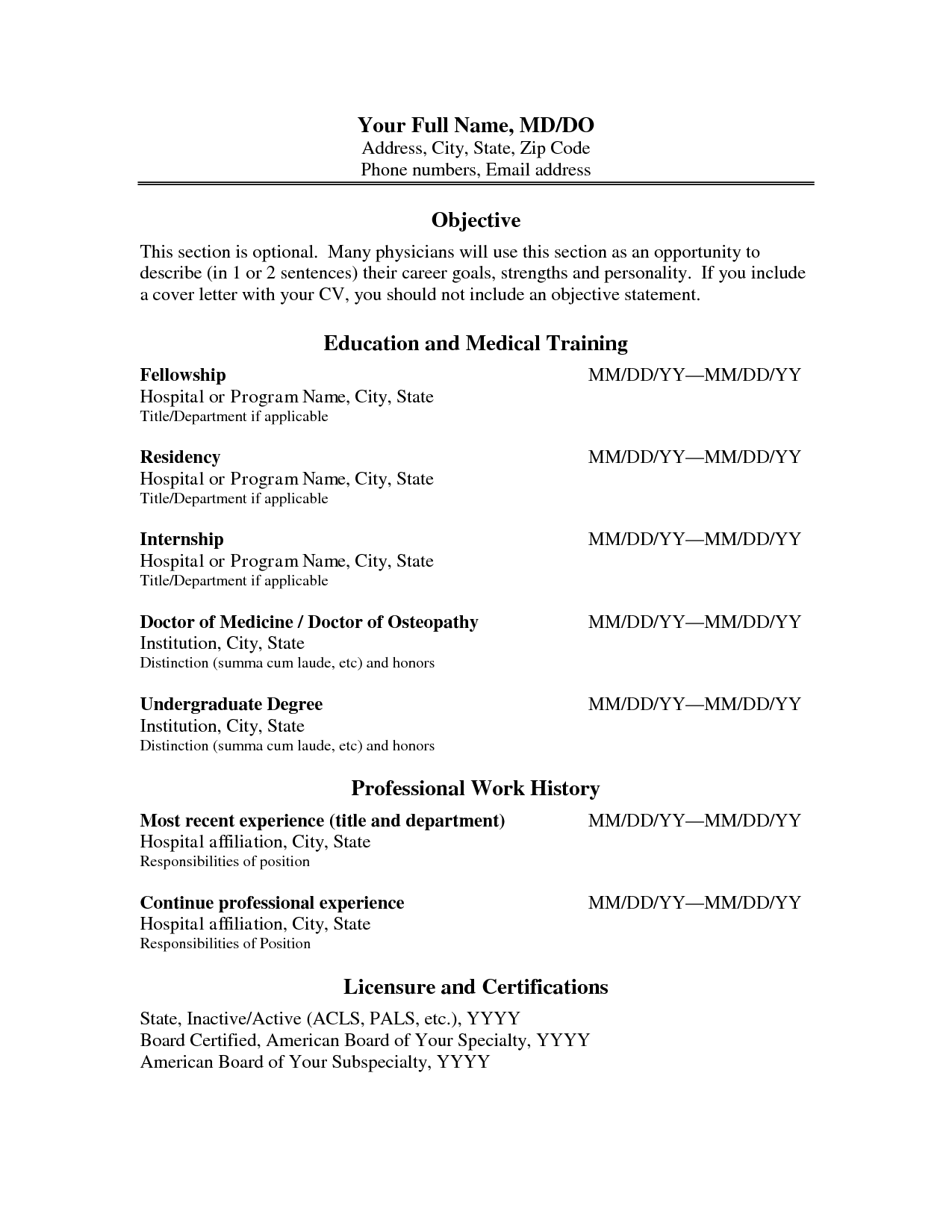 Cv Format Physician Physician Assistant Resume And Curriculum  Medical Resume Examples