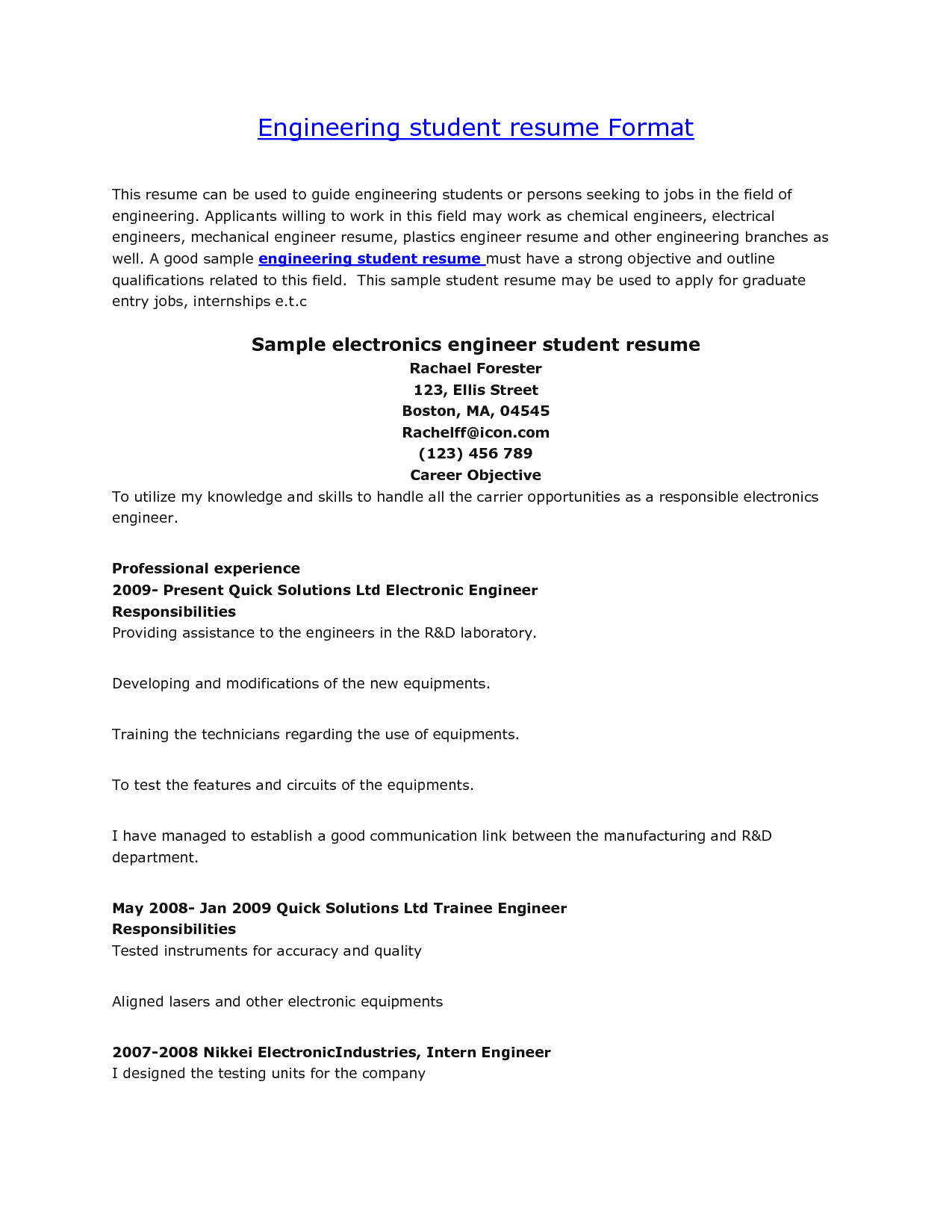 Electronic Engineer Student Resume electronic engineer student