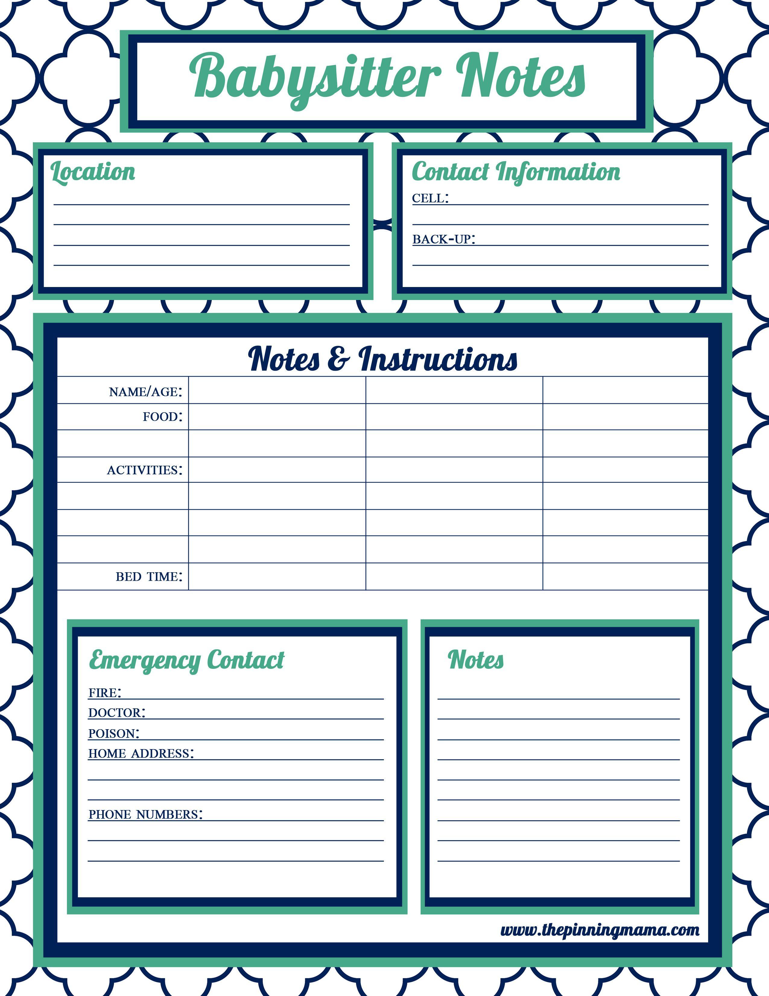 Babysitter Information Babysitter Checklist Babysitter Babysitter Contact Babysitter