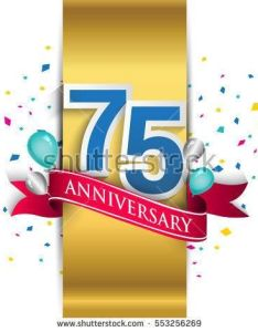 th anniversary logo with gold label and red ribbon balloons confetti seventy five also nd silver blue rh pinterest