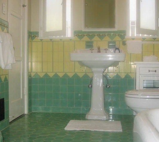 Beautiful Yellow and mint green vintage tile bathroom from